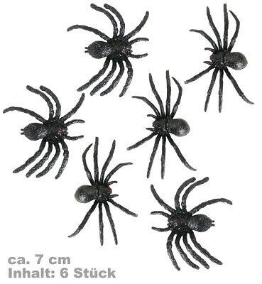 Dekospinnen schwarz 6 Stück 7cm Groß Halloween