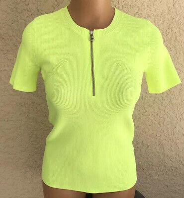 Helmut Lang Quarter Zip Ribbed Tee Small S Plastic Green Neon Highlighter Bright