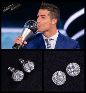 Mens Ronaldo Oversized Bling 10mm 18ct White Gold Plate Crystal Diamond Earrings