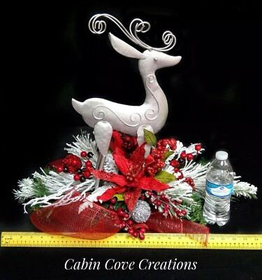 Halloween Red Deer (Deer Floral Arrangement Holiday Centerpiece red white silver Country Snow)
