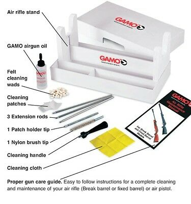 Gamo Air Rifle Gun cleaning kit Maintenance Centre Stand rod oil patches 177 22