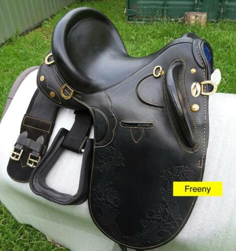 New Leather Australian Stock Saddle without Horn and Accessories Black