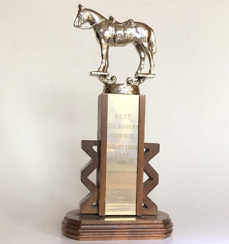 Vintage 1964 Horse Trophy For BEST ALL AROUND COWBOY. Western. Art Deco Design