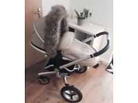 Silver cross surf sand travel system comes with car seat,fur hood and newborn insert