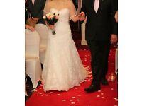 Lace, ivory wedding dress size 10 with veil