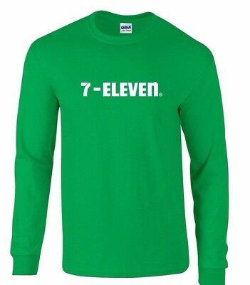 7 Eleven 7 11 Funny Pop Party Vintage Cool Irish Green Long Sleeve Shirt S  5Xl