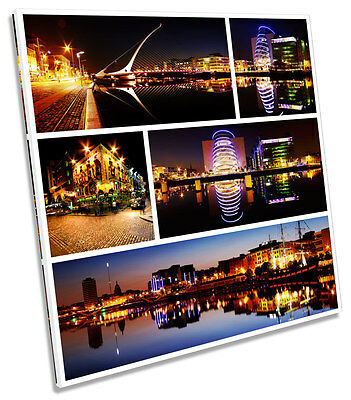 Dublin Ireland City Collage Square Box Framed Canvas Art Picture