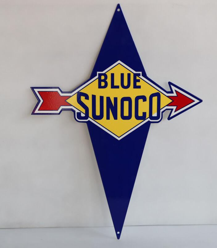 BLUE SUNOCO ARROW Diamond Diecut Gas Pump Sign oil  modern retro