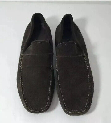 Banana Republic Men's 10 Brown Leather Driving Loafers Suede Moccasins Slip On Leather Suede Moccasins