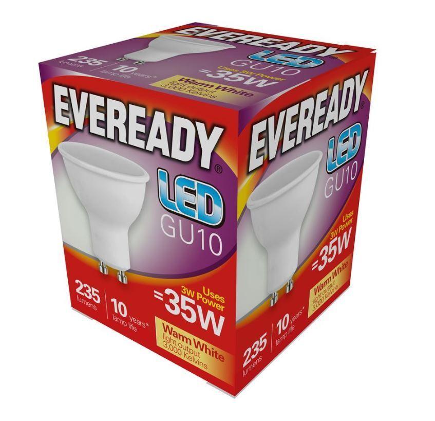 = 35w LED GU10 Strahler Reflektor Tageslicht Weiß 865 X 5 Eveready 3w