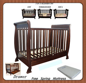 Brand New 3 in1 Sleigh Wooden Baby Cot Toddler Bed w Big Drawer+ Free Mattress