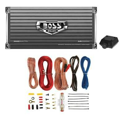Boss Armor AR2000M 2000W Mono Car Audio Amplifier+Amp Wire Kit+Bass Remote
