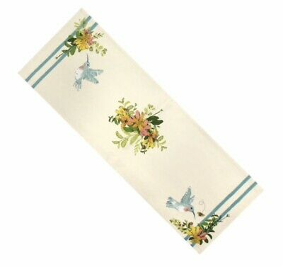 "New Hummingbirds Spring Floral Table Runner 36"" Blue Multicolor ](Spring Table Runners)"