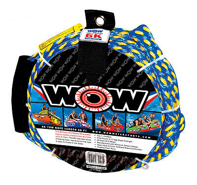 "new WOW 6K Tow Rope Towable Tube 60' Long Floating 3/4"" Heavy Duty Water Ski"