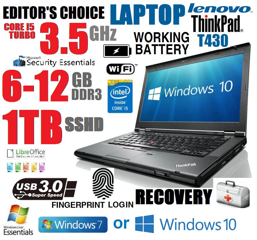 EDITOR CHOICE LENOVO TURBO I5 3.5GHz LAPTOP w/6GB-12GB+1TB SSHD+USB3 NOTEBOOK