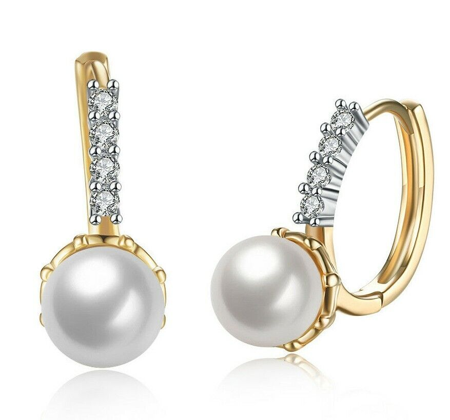 14K Fresh Water Cultured Pearl with Pave Crystals Leverback Earring in 14K Gold