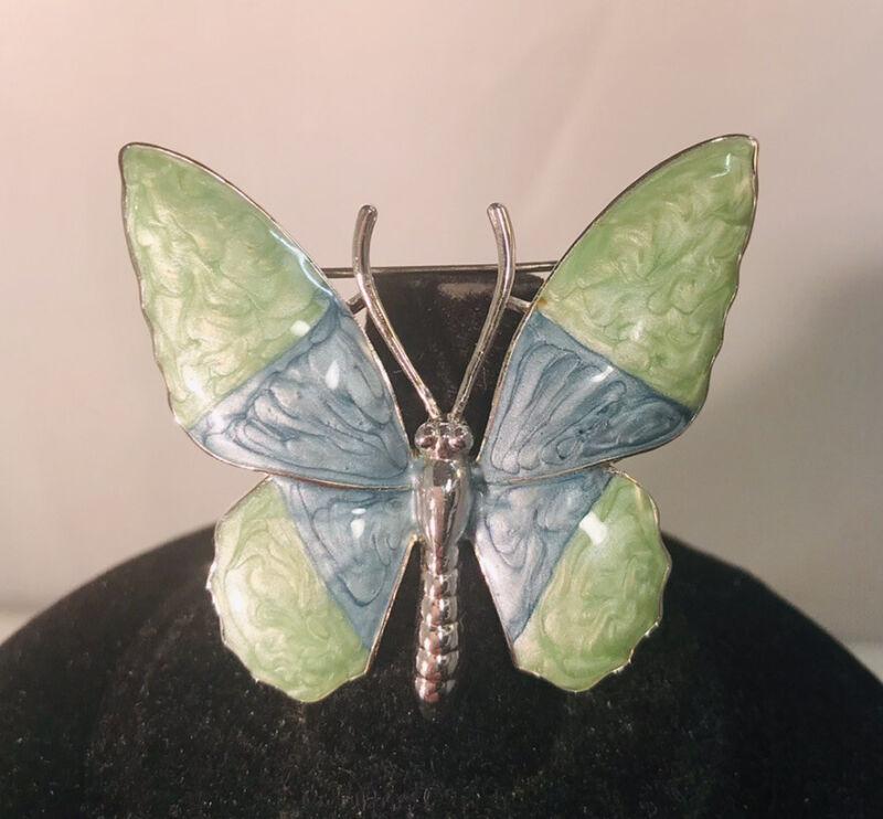 Beautiful Green & Blue Enamel Swirl Silver Tone Butterfly Brooch Pin