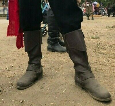 Brown Steampunk Medieval Pirate Renaissance Fair Actor Mens Costume Knee - Mens Brown Pirate Boots