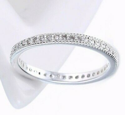 18K White Gold Plated Wedding Engagement Band Eternity Women Promise (Aventura Promise)