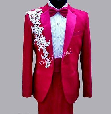 Men Blazer Dress Groom Glitter Floral Rhinestone Chic Coat Pant Suit Slim Jacket