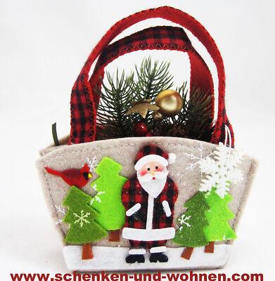 Geschenktasche, Motiv Weihnachtsmann - klein -Filz ca. 18 x 16 cm (H/B) ()