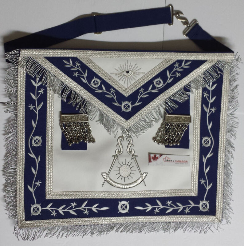 Masonic Apron -Past Master Apron Royal Blue With Silver Embroidery & Fringe