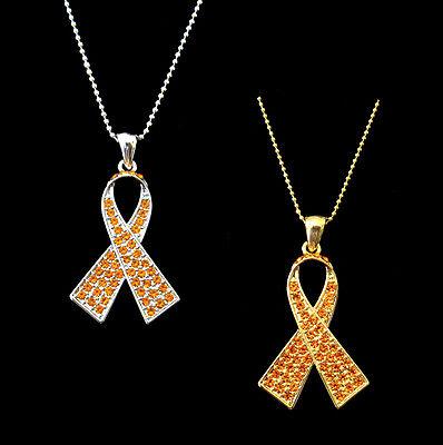 Crystal Orange Ribbon Bow Leukemia Kidney Cancer Awareness Pendant Necklace
