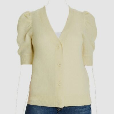 $499 C by Bloomingdale's Women's Yellow Puff-Sleeve Cashmere Cardigan Sweater XS