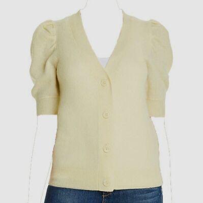 $498 C by Bloomingdale's Women Yellow Puff-Sleeve Cashmere Cardigan Sweatshirt L