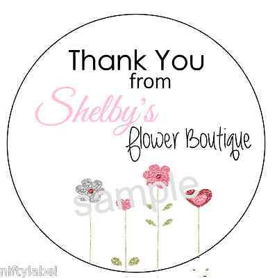 Customized Business Thank You Sticker Labels - Flower Patch Style 5