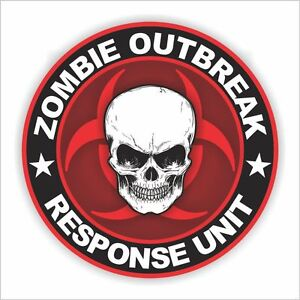 Zombie Outbreak Response Unit Sticker Decal bio-hazard horror car truck 4x4