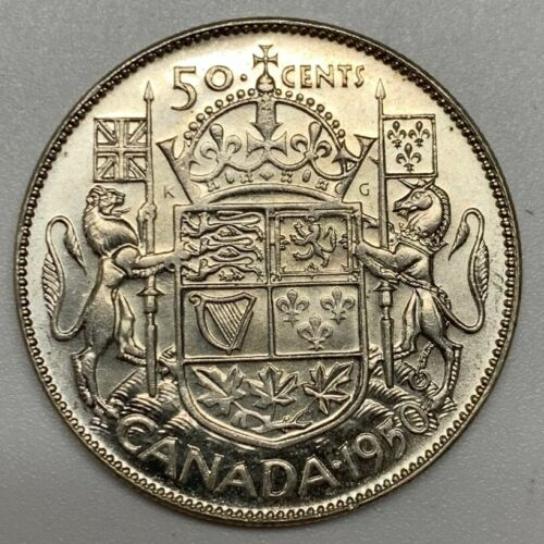 1950 Canada Silver Half Dollar BU No Lines Coin