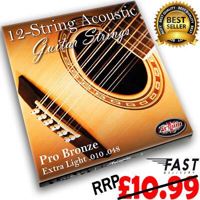 ADAGIO PRO - 12 STRING Acoustic Guitar Strings Set Bronze Extra Light £10.99 RRP