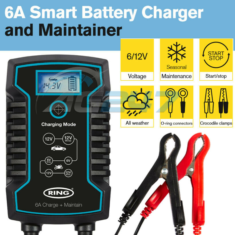 RSC806 Ring 6A Smart Battery Charger and Battery Maintainer LCD Display 6//12V