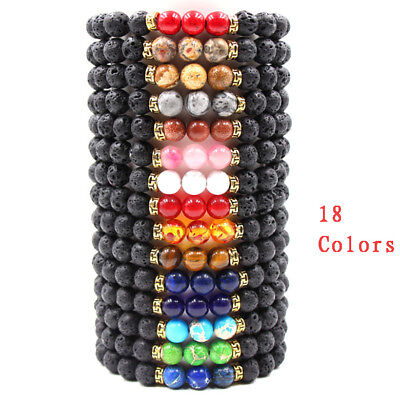 Useful Men Women Lava Rock Chakra Beads Elastic Natural Stone Agate Bracelet