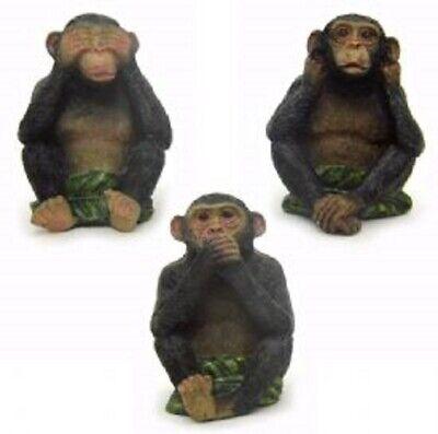 See Hear Speak No Evil Monkeys Three Wise Ape Of Jungle Figurine Set Sculptures