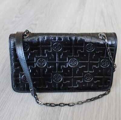 Womens black Tory Burch leather wallet on chain crossbody purse - NWOT