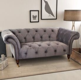 ELLIE 2 SEATER CHESTERFIELD SOFA – GREY Selling at £450