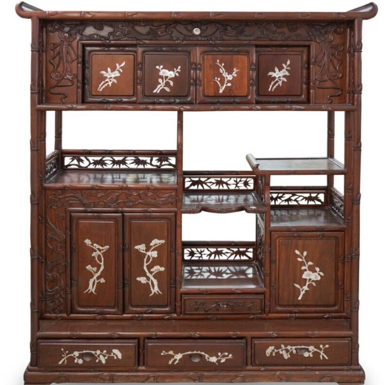 Chinese intricately Carved Rosewood and mother of Pearl curio Cabinet.