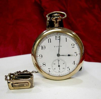 ELGIN NATIONAL WATCH CO. POCKET GOLD FILLED OPEN FACE ANTIQUE WATCH WITH A CLIP