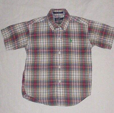 EUC Ralph Lauren Boys Red Blue Ivory & Green Plaid Button Down Dress Shirt Sz 6