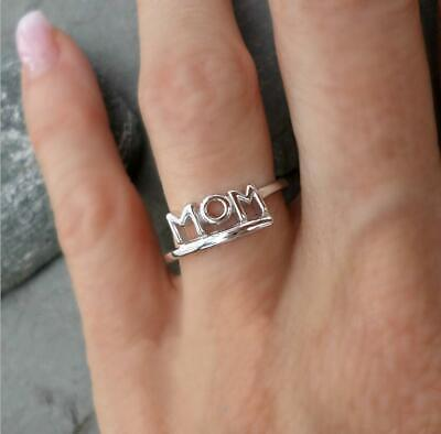 Band Mom Ring - 925 Silver Mom Letter Simple Ring Wedding Band Mother's Day Jewelry Gifts Sz6-10