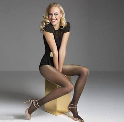 (PLATINO Lurex Metallic Fashion Pantyhose Tights Hosiery Nylons Gold Silver )