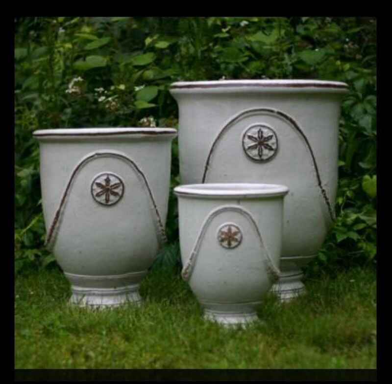 "ANDUZE URN PLANTER WHITE ANTIQUED GLAZE X LARGE 30"" LOCAL PICK UP"