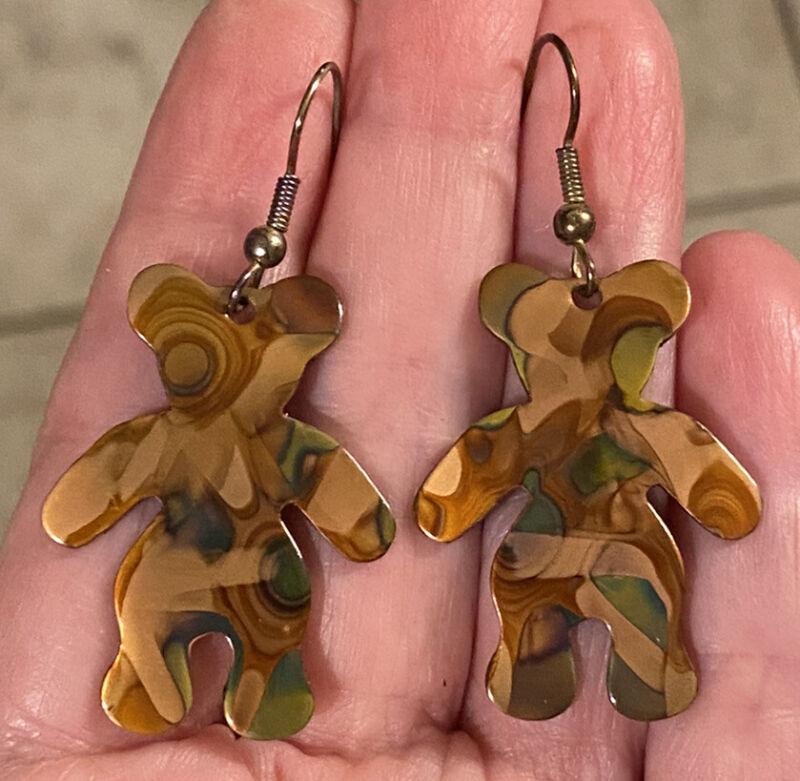 Adorable Vintage Brown & Green Swirl Enamel on Copper TEDDY BEAR Dangle Earrings