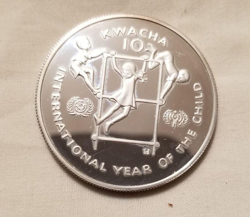 1980 zambia international year of the child silver proof crown 10 kwacha