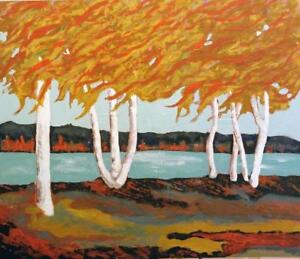 "Oakville Original Painting ""Autumn Birch"" New 20x24"" Koudelka Inspired by Group of Seven techniques Tom Thomson"