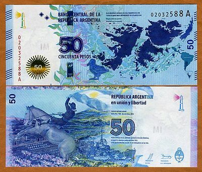 Argentina 50 Pesos 2015, P-New A-Serie UNC > Malvinas Islands (Falklands) commem segunda mano  Embacar hacia Argentina