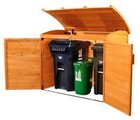 REFUSE STORAGE SHED, AS CEDAR, BACKYARD, GARAGE, GARDEN, POOL