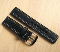 Watch band sport heavy full grain black leather strap, 20mm gray